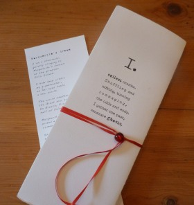 Closed flag book featuring an original poem Marguerite's Dream - a legacy of dreams passed from my immigrant grandparents to me